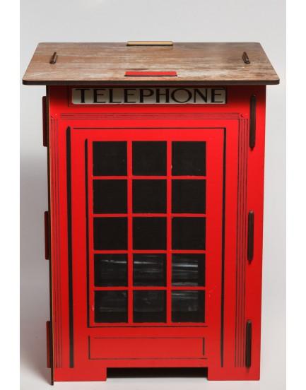Banco de mdf tema Cabine telefônica Londres