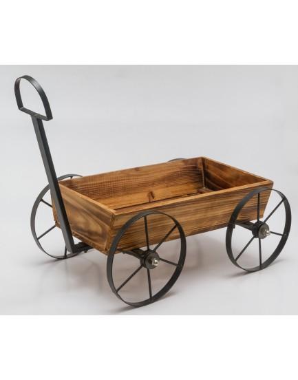 Carroça madeira com roda de ferro tam M