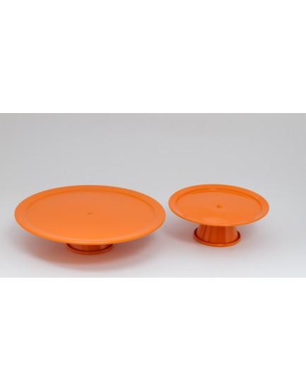 Prato com pé alumínio laranja tam M