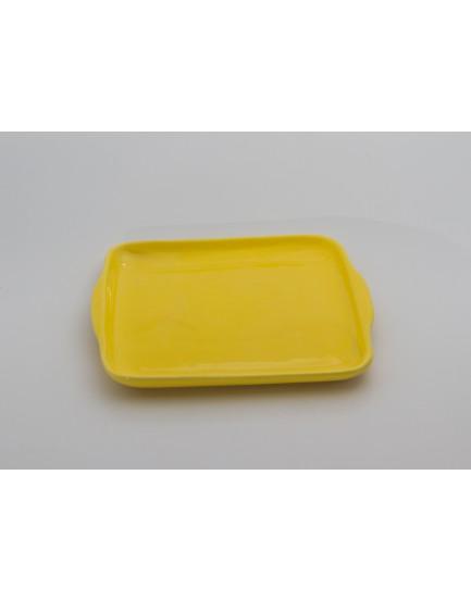 Prato quadrado cerâmica amarelo com aba