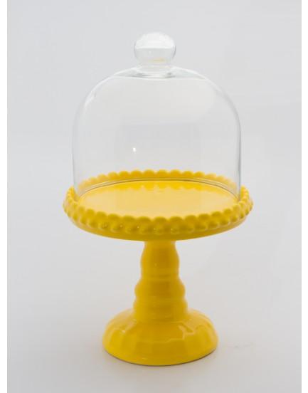 Suporte porcelana Amarela com redoma de vidro G