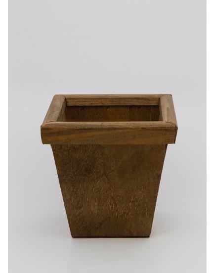 Cachepot Rústico de madeira com borda quadrada