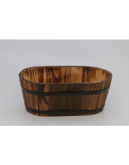 Balde oval de madeira com ferro
