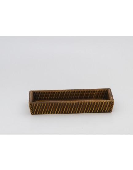 Bandeja retangular de madeira rústica