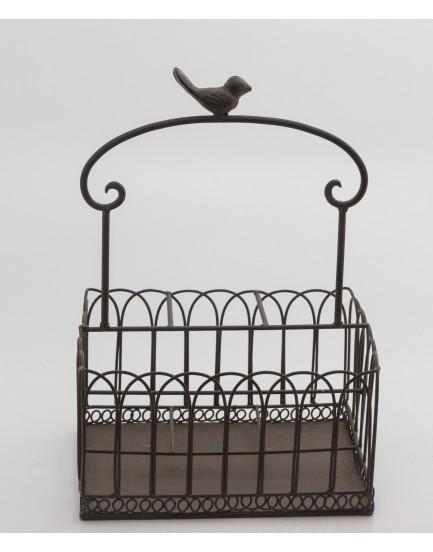 Cesto de ferro com passarinho na ponta
