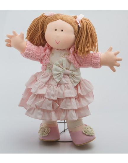 Boneca em Tecido com vestido rosa claro