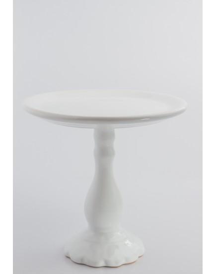 Prato Alto de cerâmica Branco Redondo com pé Torneado Branco