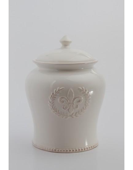 Pote Cerâmica Branco com detalhe flor de Liz