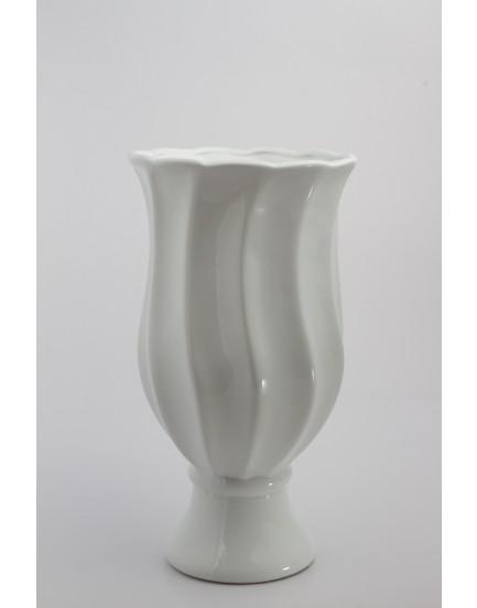 Vaso Frizado Branco cerâmica Tam G