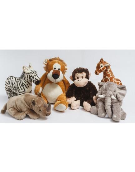 Kit com 6 Pelucias Safari ( macaco, girafa , leão, rinoceronte, zebra e elefante )