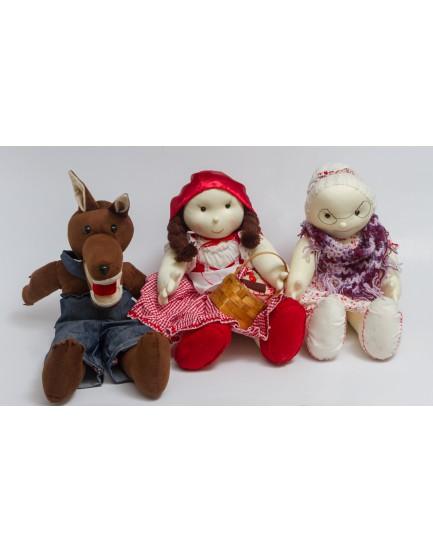Kit de 3 personagens ( chapeuzinho, Vovó e Lobo Mau  )