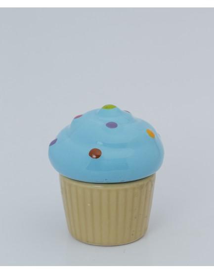 Pote formato cupcake azul