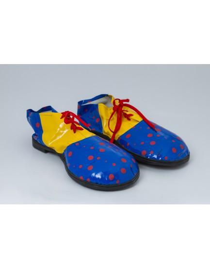 Sapato Palhaço azul com póa vermelho