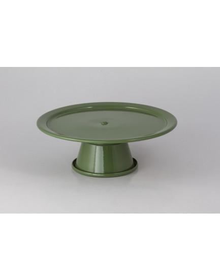 Prato com pé em alumínio verde Militar Tam P