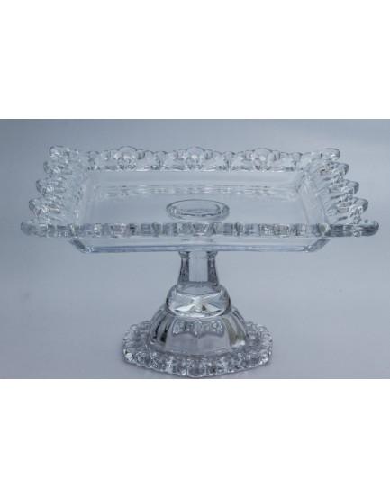 Prato de vidro transparente com borda rendada