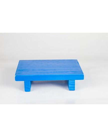 Bandeja rústica com pé reto azul