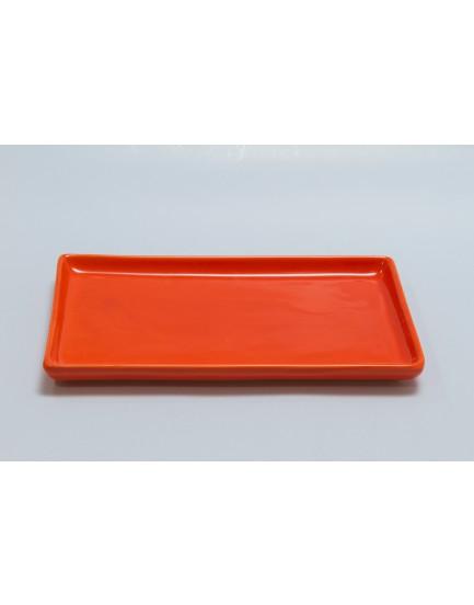 Prato retangular cerâmica laranja