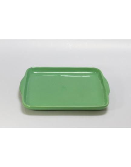 Prato quadrado verde claro cerâmica