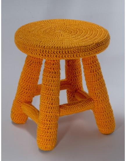 Banquinho Crochê Amarelo Tam G