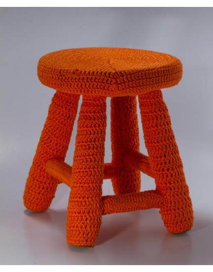 Banquinho Crochê laranja tam G