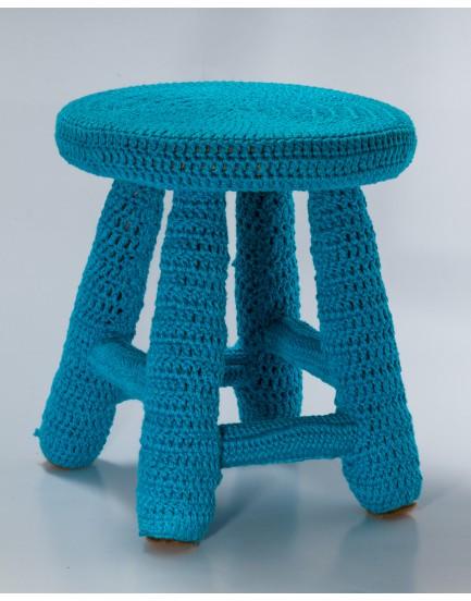 Banquinho Crochê Azul Mar tam G