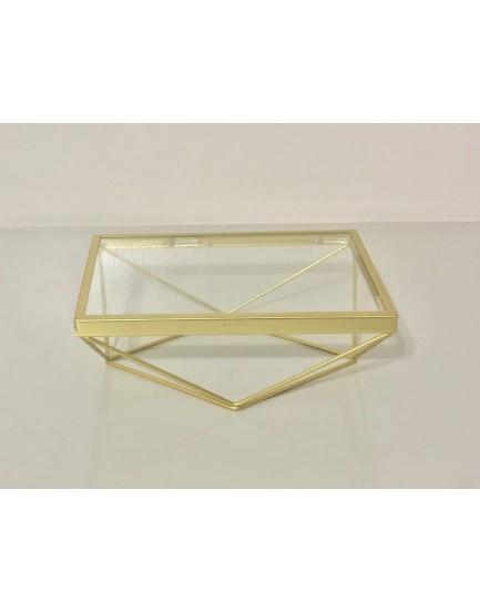 Bandeja Retangular de alumínio Dourada com vidro