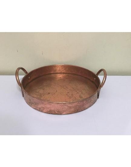 Bandeja redonda com alça cobre