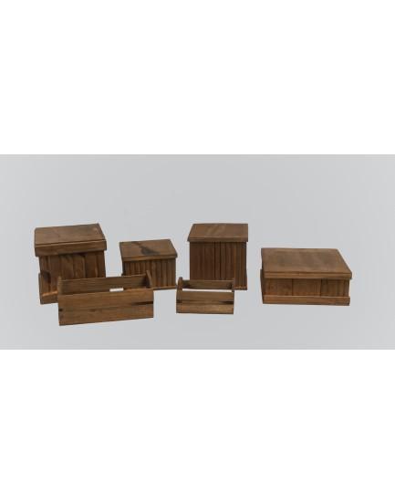 Kit Rústico de 4 caixas + 2 caixotes pequenos
