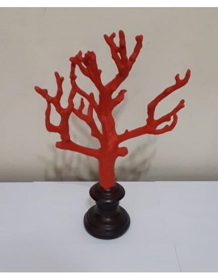 Coral Decorativo Vermelho com base madeira Mod II