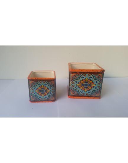 Conjunto de vasinhos decorativos flores Laranja