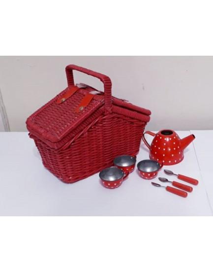 Cestinha vermelha com kit de chá em alumínio
