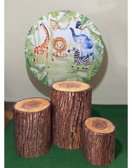 Kit Sublimado Safari - 3 capas modelo tronco + cilindros de madeira + capa painel redondo 1,50 + Estrutura circular redonda