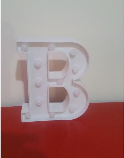 Letra B Luminosa de plástico Branca