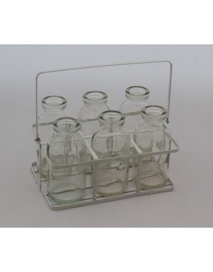 Engradado de metal com 6 garrafinhas de vidro