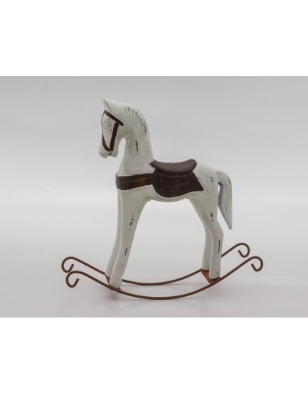 Cavalinho de resina Balanço Branco com marrom