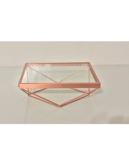 Bandeja Retangular de alumínio  cobre com vidro