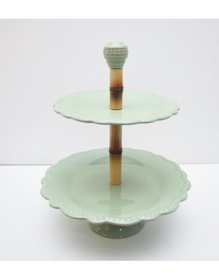 Suporte de 2 andares bambu e cerâmica Verde Celadon
