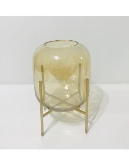Vaso de vidro champanhe com suporte dourado Tam M