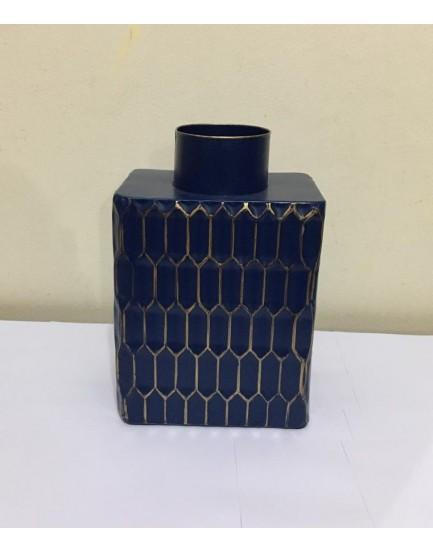 Vaso de metal quadrado azul com dourado
