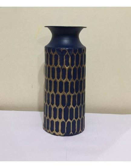 Vaso de metal Cilindro azul com dourado