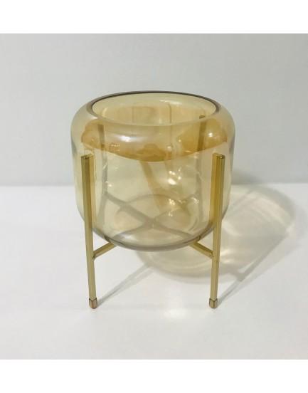 Vaso de vidro champanhe com suporte dourado Tam P