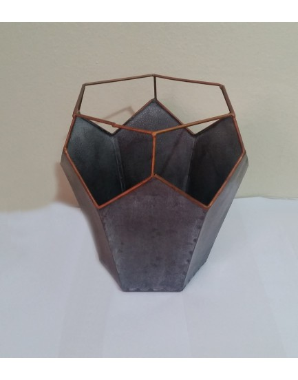Cachepot Vaso Hexagonal Alto de alumínio Tam P