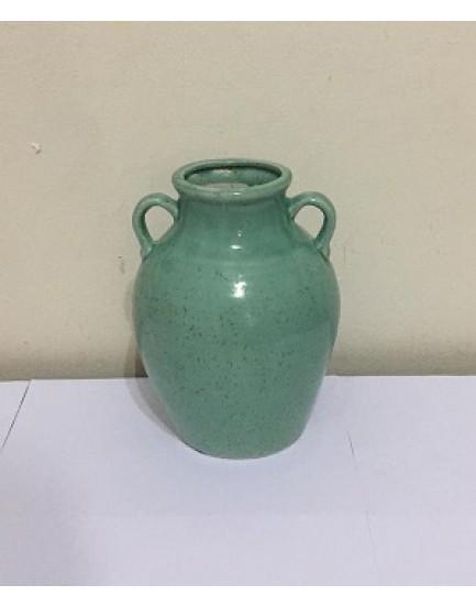 Vaso Cerâmica Textura Wave Verde Tam M