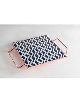 Bandeja Baixa quadrada cobreado azul e branco corrente