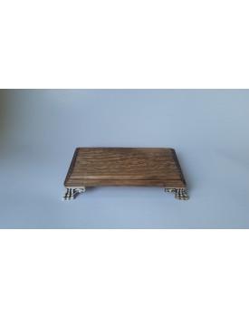 Bandeja Retangular de madeira com pé resina
