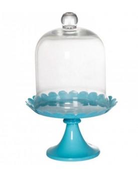 Suporte esmaltado azul com redoma de vidro