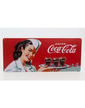Placa Metálica retangular Garçonete  Coca-cola
