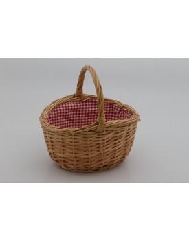 Cestinha oval de palha com tecido xadrez vermelho dentro