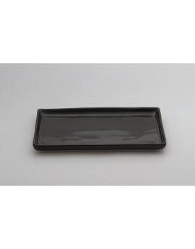Prato retangular cerâmica preto