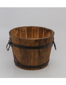 Balde  estilo tina madeira com ferro